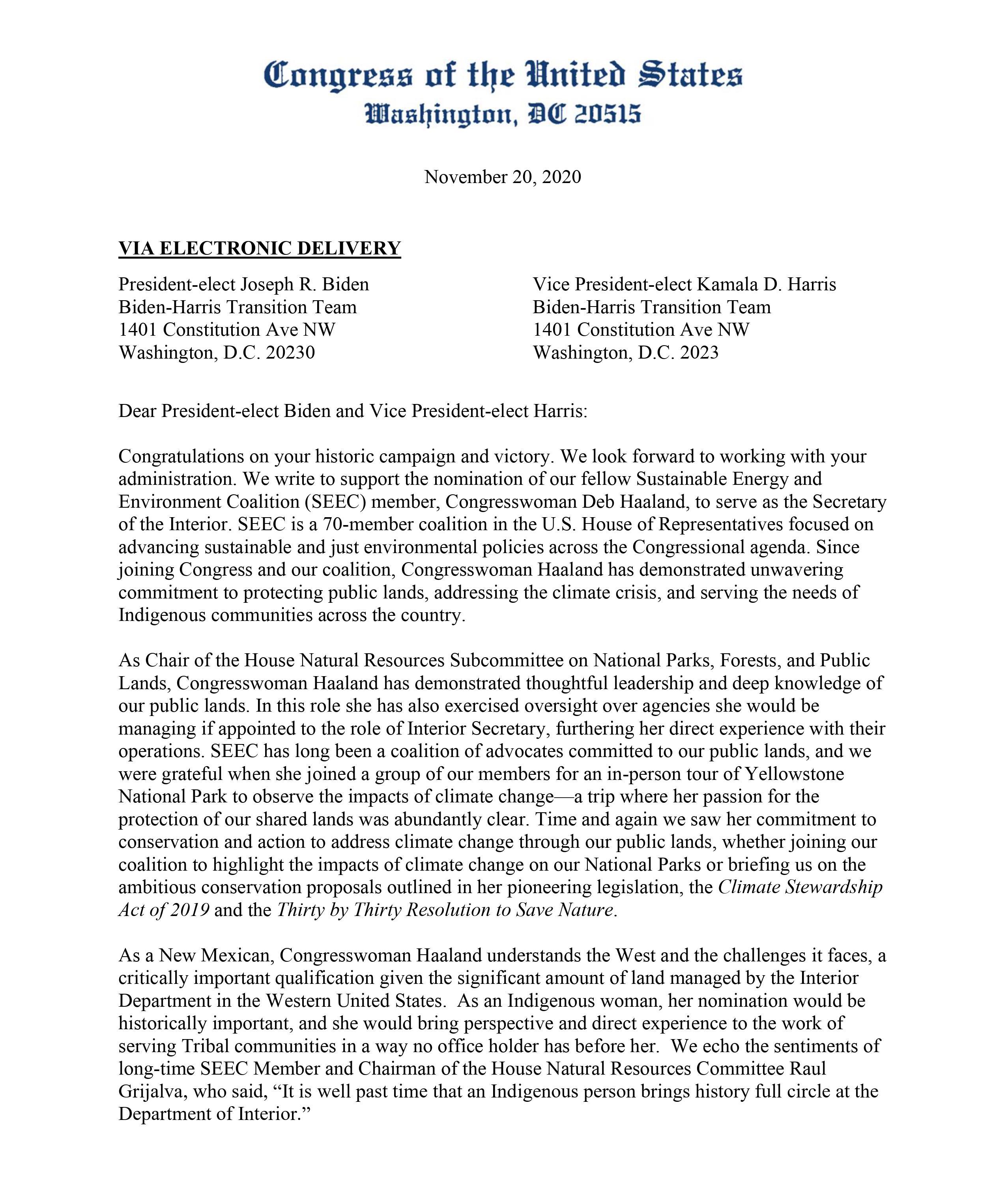 Letter to President-elect Biden.